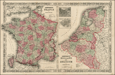 Europe, Netherlands and France Map By Benjamin P Ward  &  Alvin Jewett Johnson
