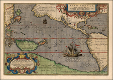 World, Western Hemisphere, Polar Maps, South America, Pacific and America Map By Abraham Ortelius
