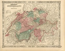 Europe and Switzerland Map By Benjamin P Ward  &  Alvin Jewett Johnson