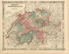 Europe and Switzerland Map By Benjamin P Ward  &  Alvin Jewett Johnson