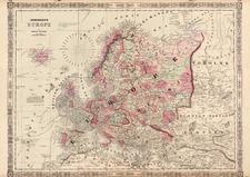 Europe and Europe Map By Benjamin P Ward  &  Alvin Jewett Johnson