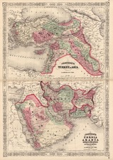 Asia, Central Asia & Caucasus and Middle East Map By Alvin Jewett Johnson