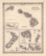 Hawaii, Australia & Oceania, Oceania, New Zealand and Hawaii Map By Joseph Hutchins Colton