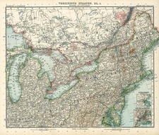 New England, Mid-Atlantic and Midwest Map By Adolf Stieler