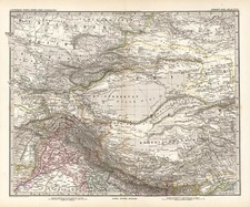 Asia, China, India, Central Asia & Caucasus and Russia in Asia Map By Adolf Stieler