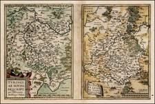 Germany and Czech Republic & Slovakia Map By Abraham Ortelius
