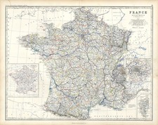 Europe and France Map By W. & A.K. Johnston