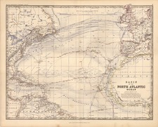 World, World and Atlantic Ocean Map By W. & A.K. Johnston