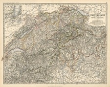 Europe, Switzerland, France and Italy Map By W. & A.K. Johnston