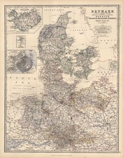 Europe, Germany, Baltic Countries, Scandinavia and Balearic Islands Map By W. & A.K. Johnston