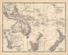Australia & Oceania, Australia, Oceania and New Zealand Map By W. & A.K. Johnston