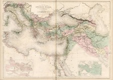 Europe, Balkans, Turkey, Mediterranean, Asia and Asia Map By Adam & Charles Black