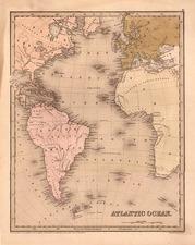 World, Atlantic Ocean, South America and America Map By Thomas Gamaliel Bradford  &  Goodrich