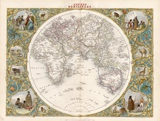 World and Eastern Hemisphere Map By John Tallis