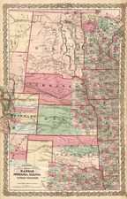 Midwest, Plains, Southwest and Rocky Mountains Map By Joseph Hutchins Colton
