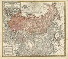 Europe, China, Central Asia & Caucasus and Russia in Asia Map By Homann Heirs / Johann Matthaus Haas