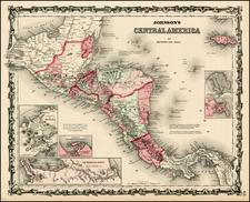 Central America Map By Benjamin P Ward  &  Alvin Jewett Johnson