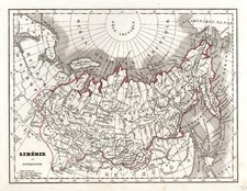 World, Polar Maps, Asia, Central Asia & Caucasus and Russia in Asia Map By Conrad Malte-Brun