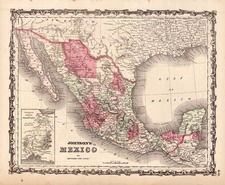 Southwest and Mexico Map By Benjamin P Ward  &  Alvin Jewett Johnson