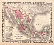 Southwest and Mexico Map By Benjamin P Ward  &  Alvin Jewett Johnson