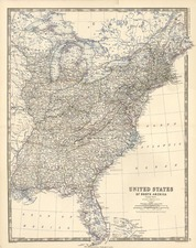 United States, Mid-Atlantic and Midwest Map By W. & A.K. Johnston