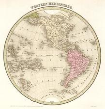 World, Western Hemisphere, South America and America Map By Thomas Gamaliel Bradford