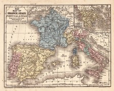 Europe, France, Italy, Spain and Portugal Map By Samuel Augustus Mitchell