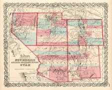 Southwest, Rocky Mountains and California Map By Joseph Hutchins Colton