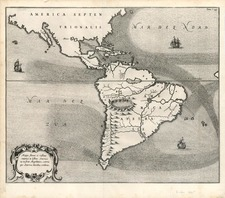 South America and America Map By Athanasius Kircher