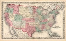 United States, Southwest and Rocky Mountains Map By Joseph Hutchins Colton