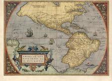 World, Western Hemisphere, South America and America Map By Abraham Ortelius