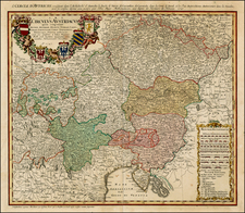 Austria and Hungary Map By Johann Baptist Homann