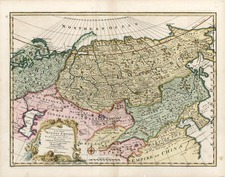 Europe, Russia, Asia, China, Central Asia & Caucasus and Russia in Asia Map By Emanuel Bowen