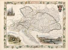 Europe and Austria Map By John Tallis