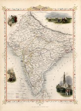 Asia and India Map By John Tallis