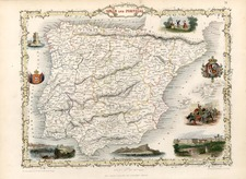 Europe, Spain and Portugal Map By John Tallis