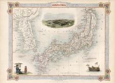 Asia, Japan and Korea Map By John Tallis