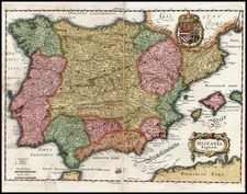 Europe, Spain and Portugal Map By Matthaus Merian
