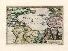 World, Atlantic Ocean, North America, Caribbean and South America Map By Pieter van der Aa
