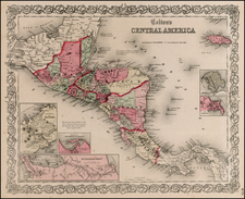 Central America Map By Joseph Hutchins Colton