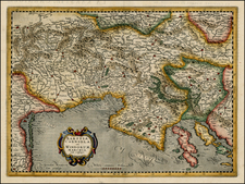 Balkans and Italy Map By Henricus Hondius - Gerard Mercator