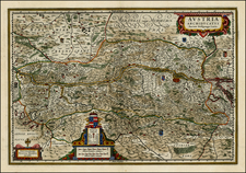Austria and Czech Republic & Slovakia Map By Henricus Hondius