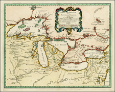 Midwest and Canada Map By Homann Heirs / Jacques Nicolas Bellin