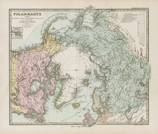 World, Northern Hemisphere and Polar Maps Map By Adolf Stieler