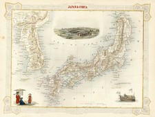 Asia, Japan and Korea Map By John Tallis