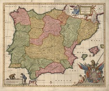 Europe, Spain, Portugal and Balearic Islands Map By Frederick De Wit