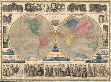 World, World and Curiosities Map By Ensign & Thayer