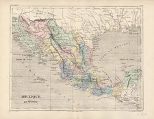 South, Texas and Mexico Map By Adolphe Hippolyte Dufour