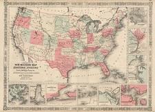 United States Map By Benjamin P Ward  &  Alvin Jewett Johnson