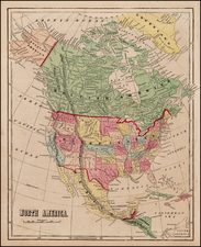 Texas and North America Map By Sidney Morse